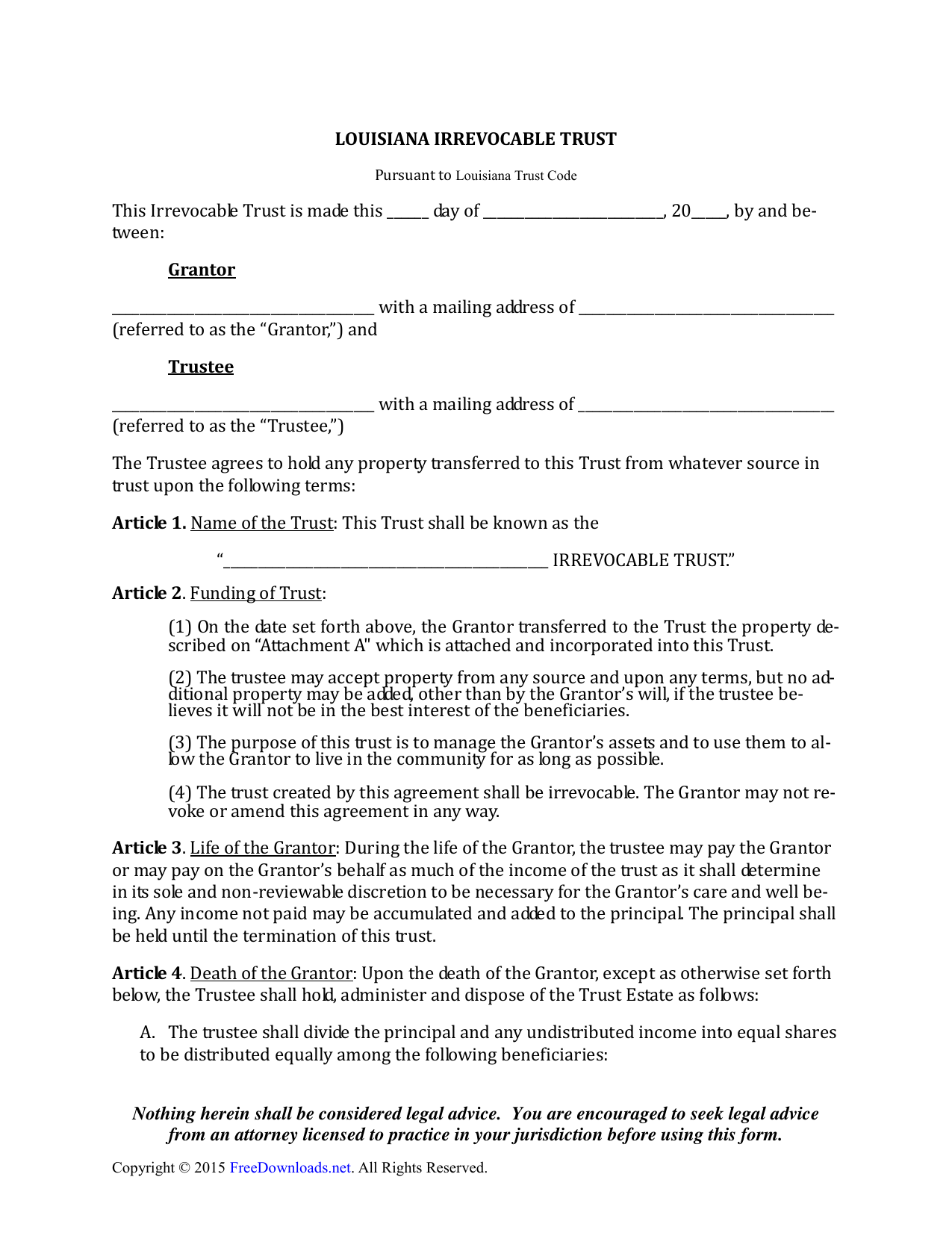 Louisiana Irrevocable Living Trust Form