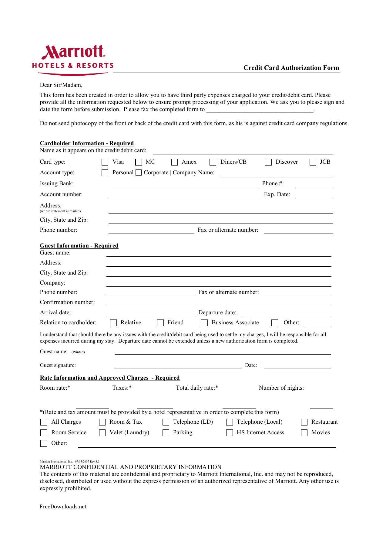 marriott credit card authorization form template