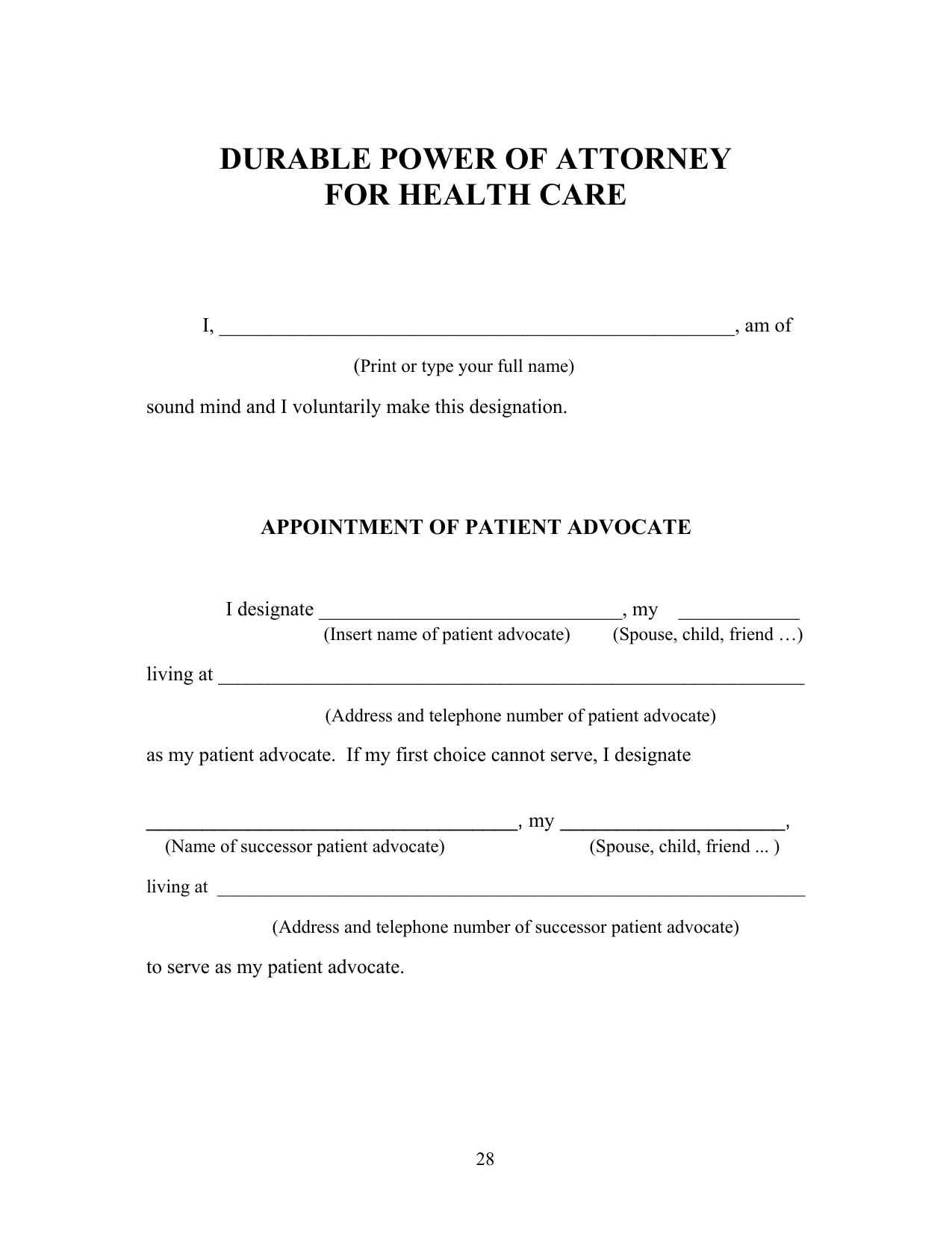 Download Michigan Living Will Form – Advance Directive | PDF ...