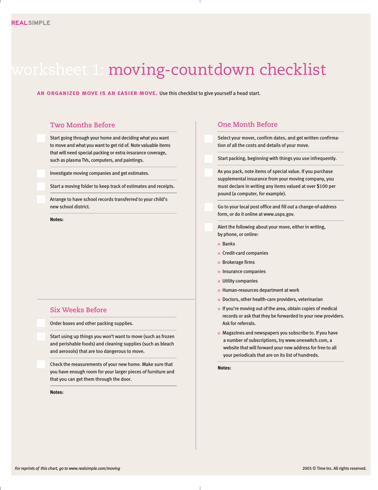 Download Moving Checklist Template Excel Pdf Rtf Word