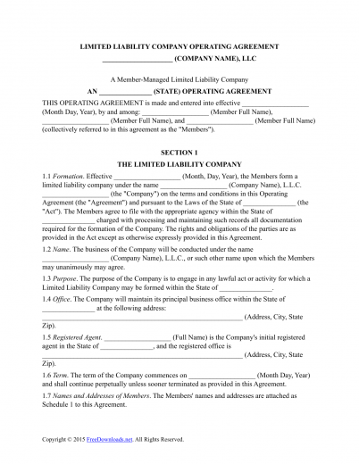 llc operating agreement template free - download multi member llc operating agreement template
