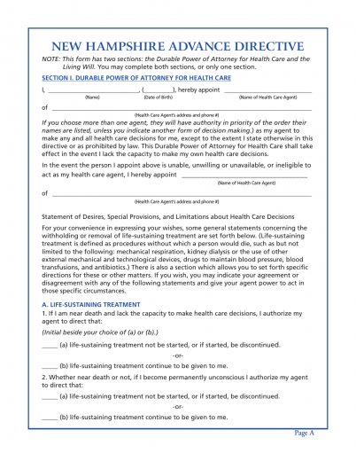 Download New Hampshire Living Will Form Advance Directive – Advance Directive Forms