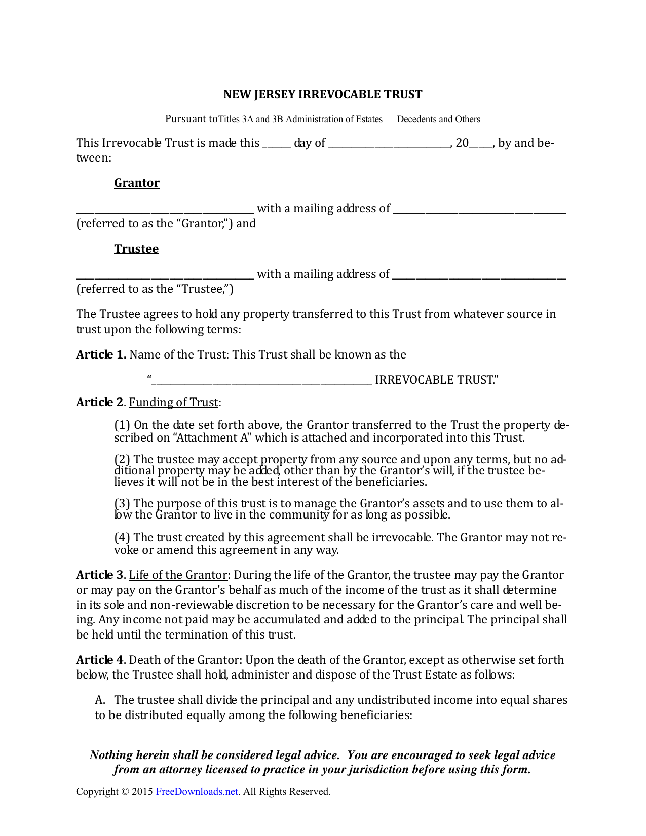 Download New Jersey Irrevocable Living Trust Form Pdf