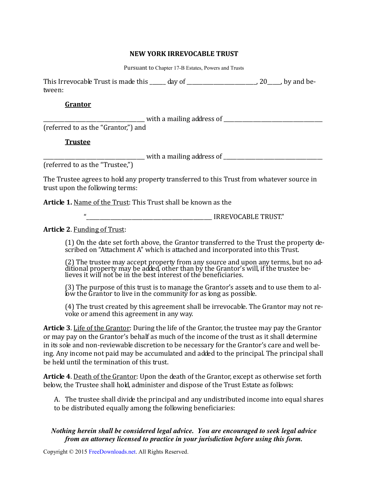 Download New York Irrevocable Living Trust Form Pdf Rtf Word
