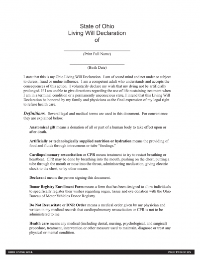 Download Ohio Living Will Form – Advance Directive | PDF ...