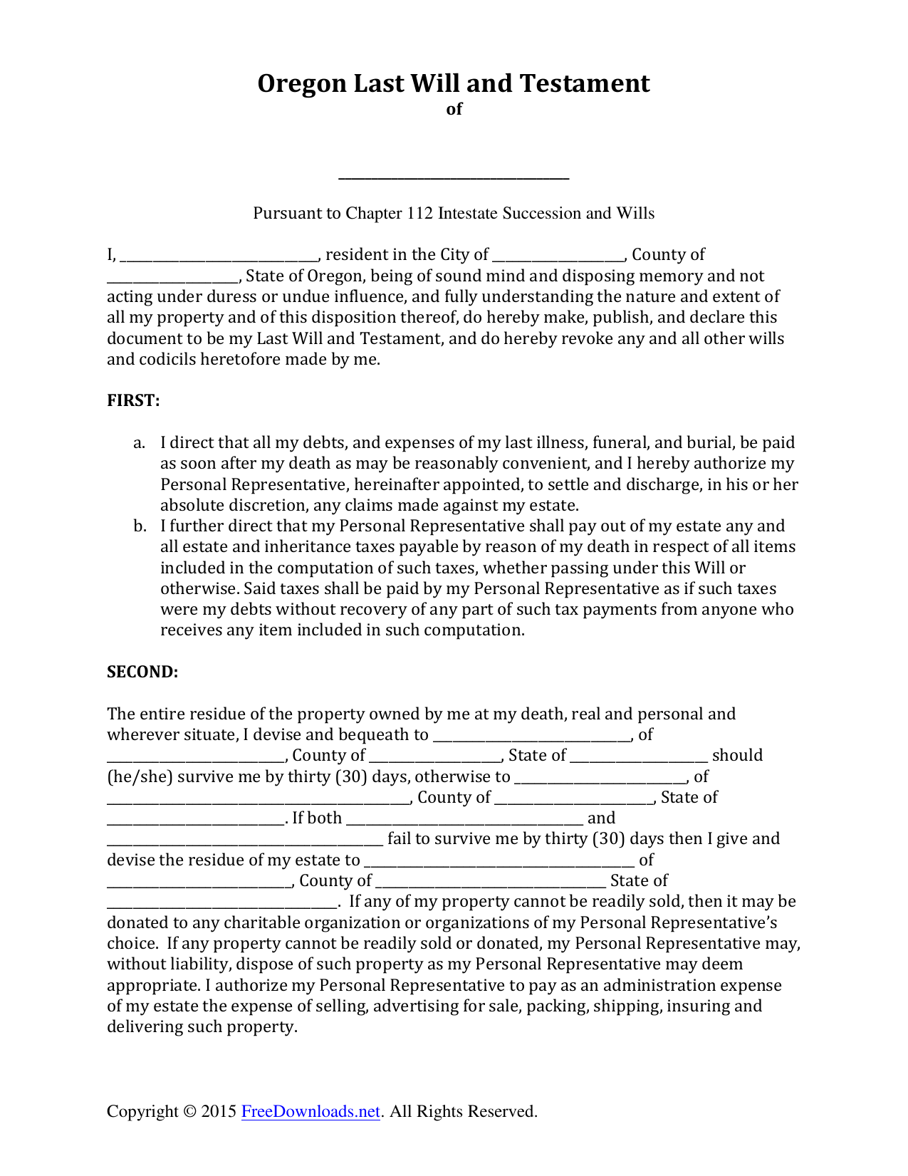 Download Oregon Last Will And Testament Form PDF RTF Word - Will form free download