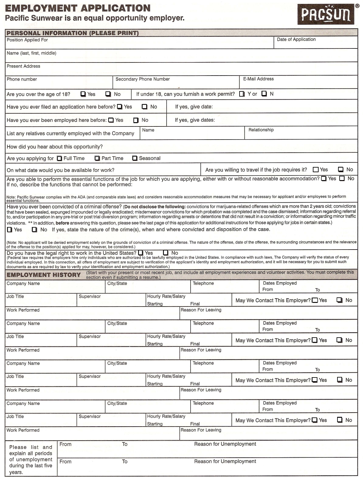 download pacific sunwear pacsun job application form careers