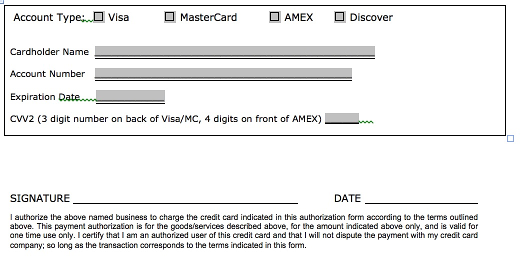 Download One (1) Time Credit Card Authorization Payment Form | Pdf