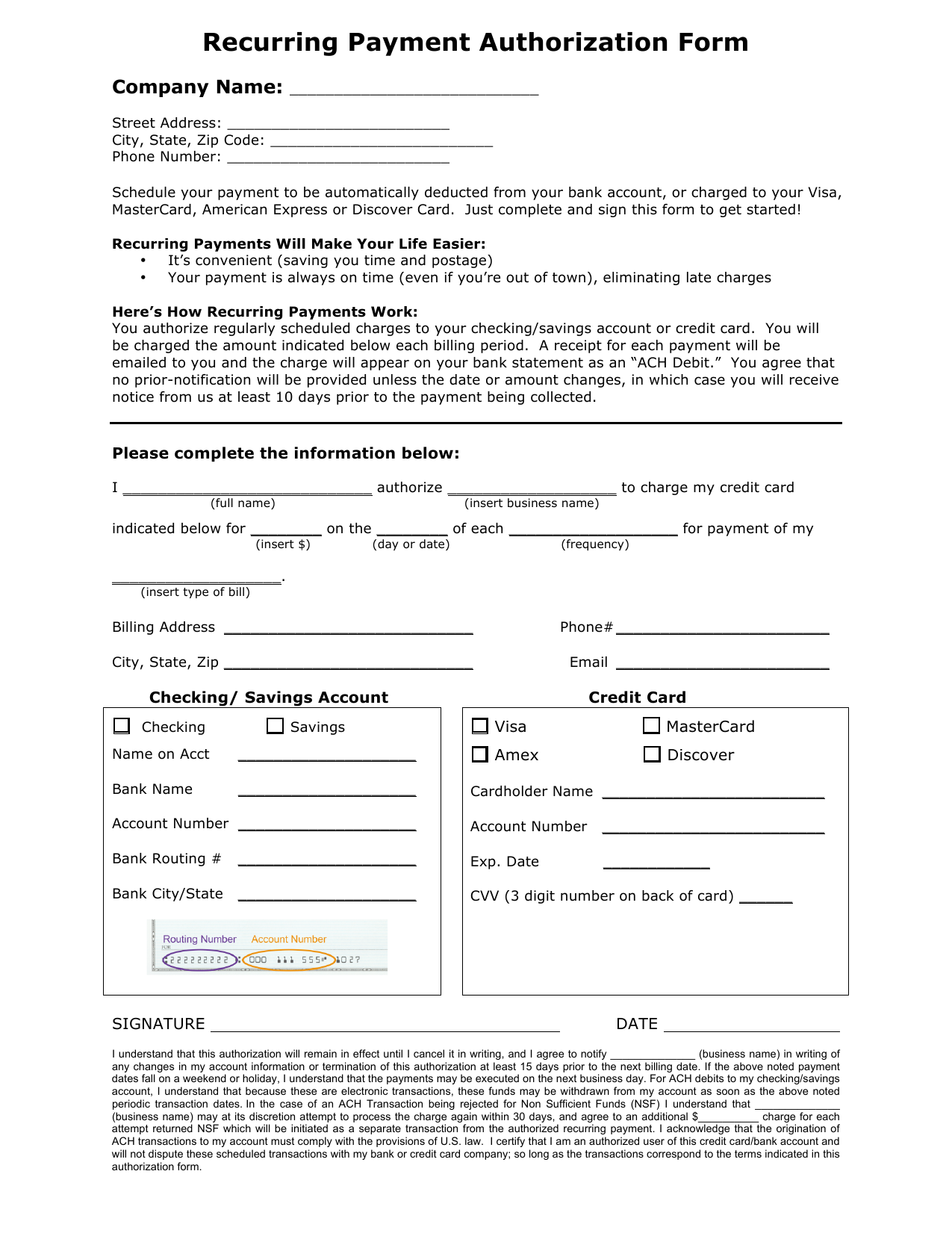 payment authorization template