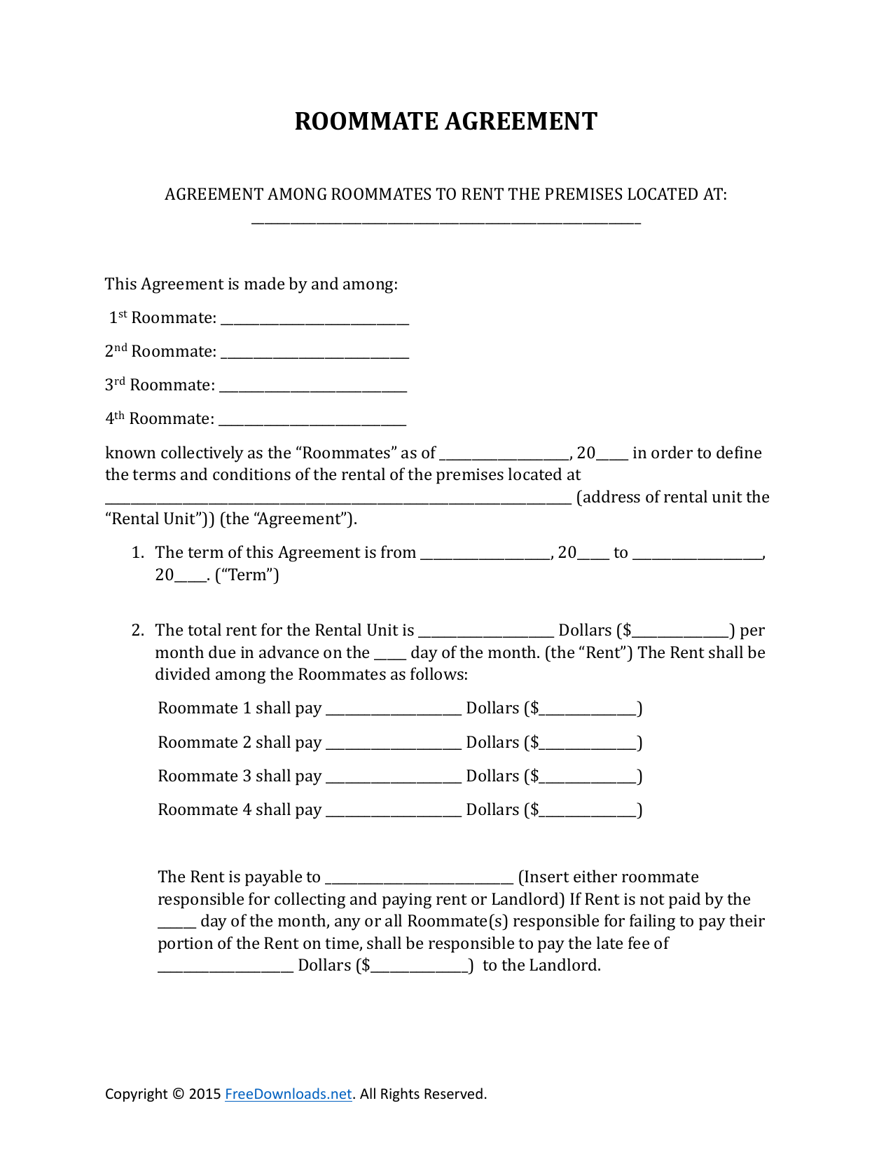 Download Roommate Rental Lease Agreement Form Pdf Rtf Word