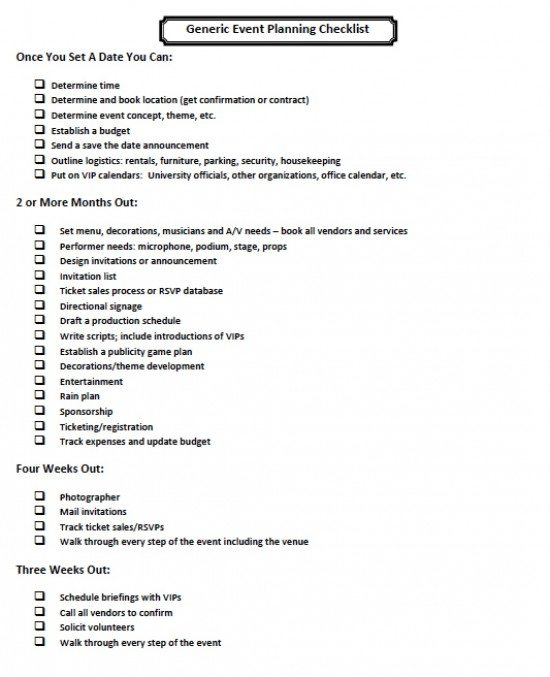 Sample Event Planning Checklist Checklist Template Printable To Do