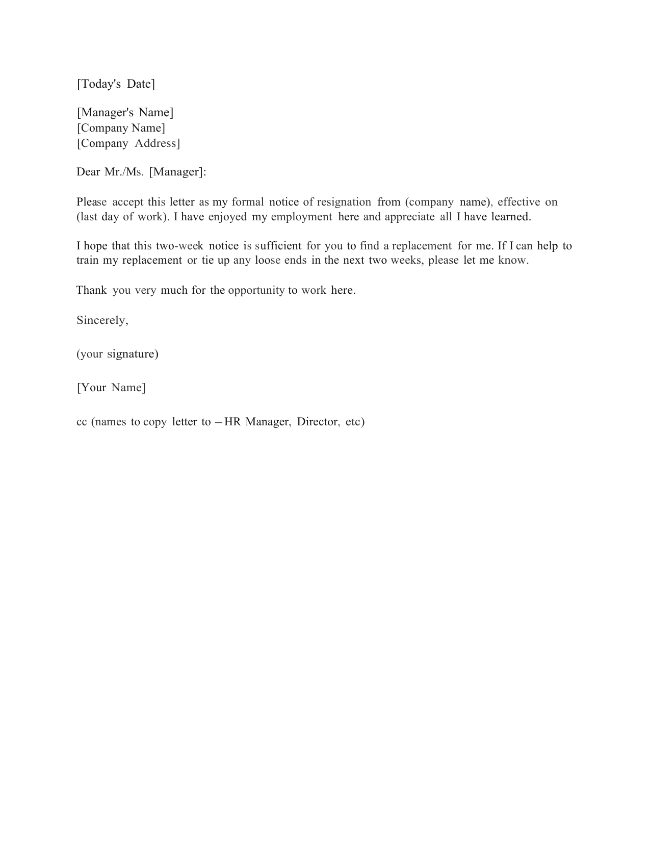 standard two 2 weeks notice letter template and sample