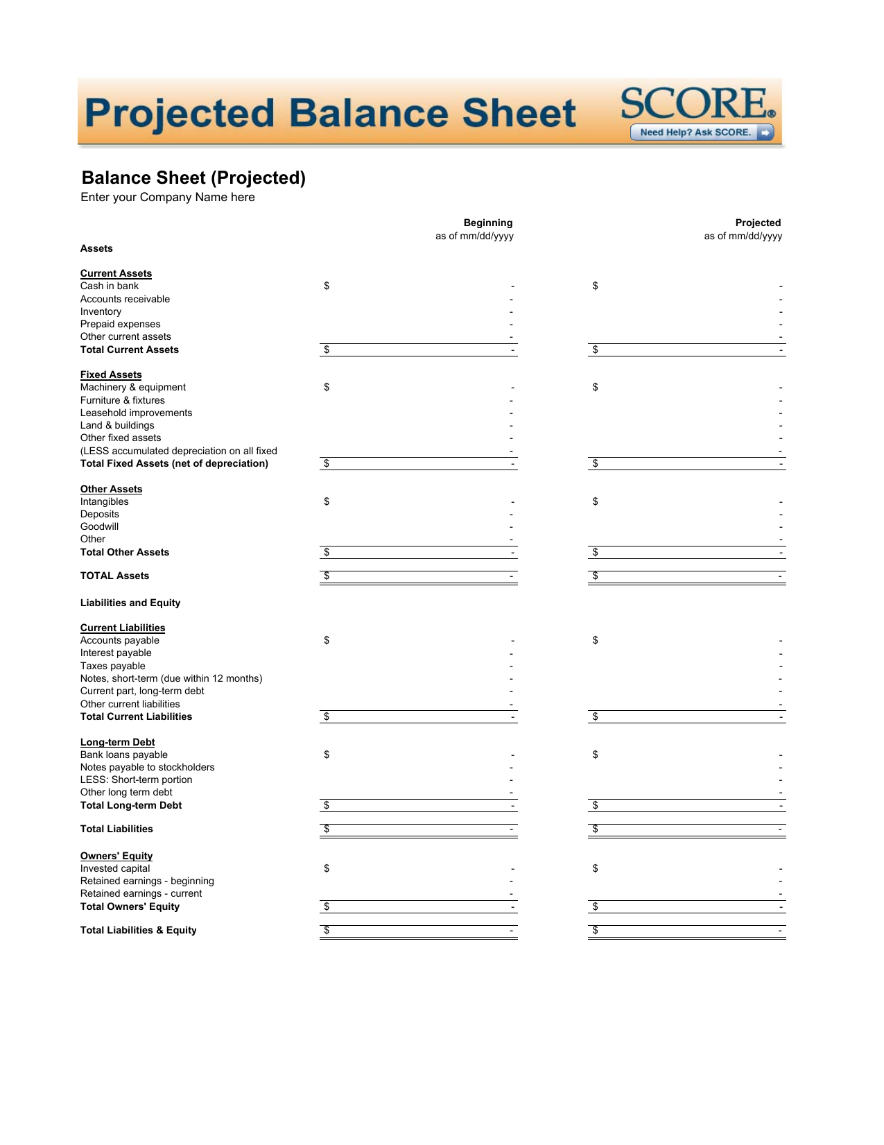 Download Projected Balance Sheet Template | Excel | PDF | RTF | Word ...