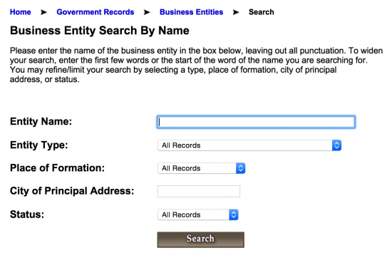 Alabama SOS Business Entity And Corporation Search