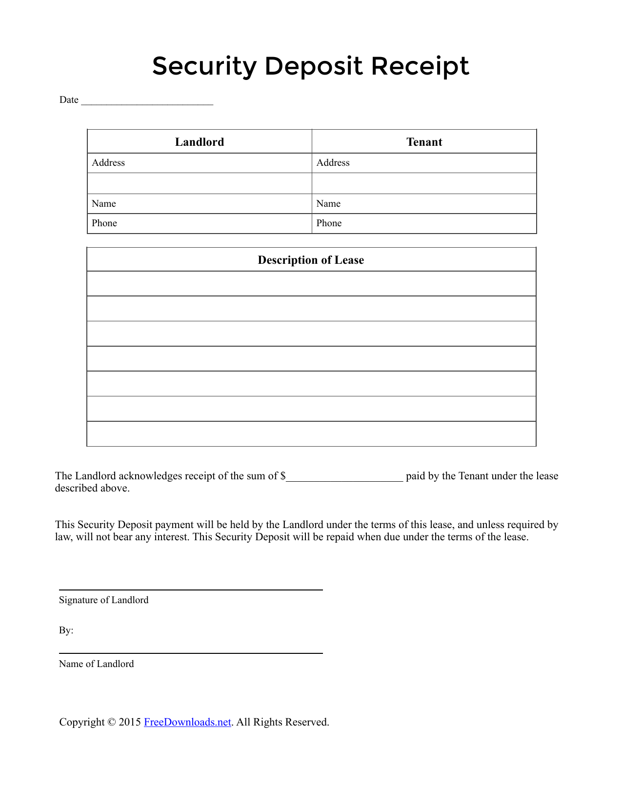 security deposit receipt template Download Security Deposit Receipt Template | PDF | RTF | Word ...