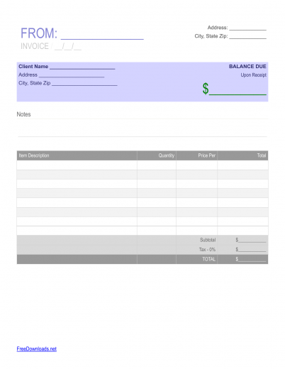 Simple Blank Receipt Template  Blank Reciept