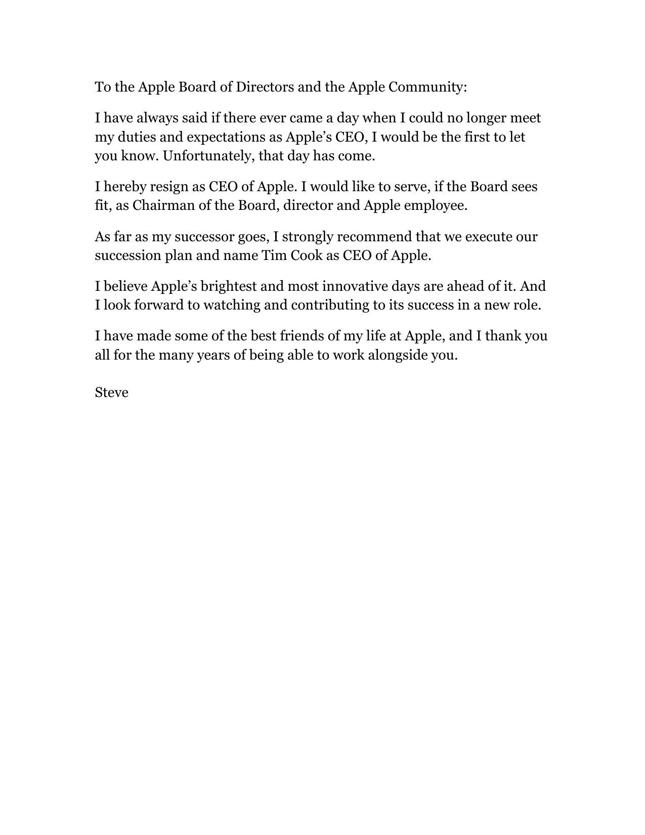 Steve Jobsu0027 Resignation Letter To Apple Inc.