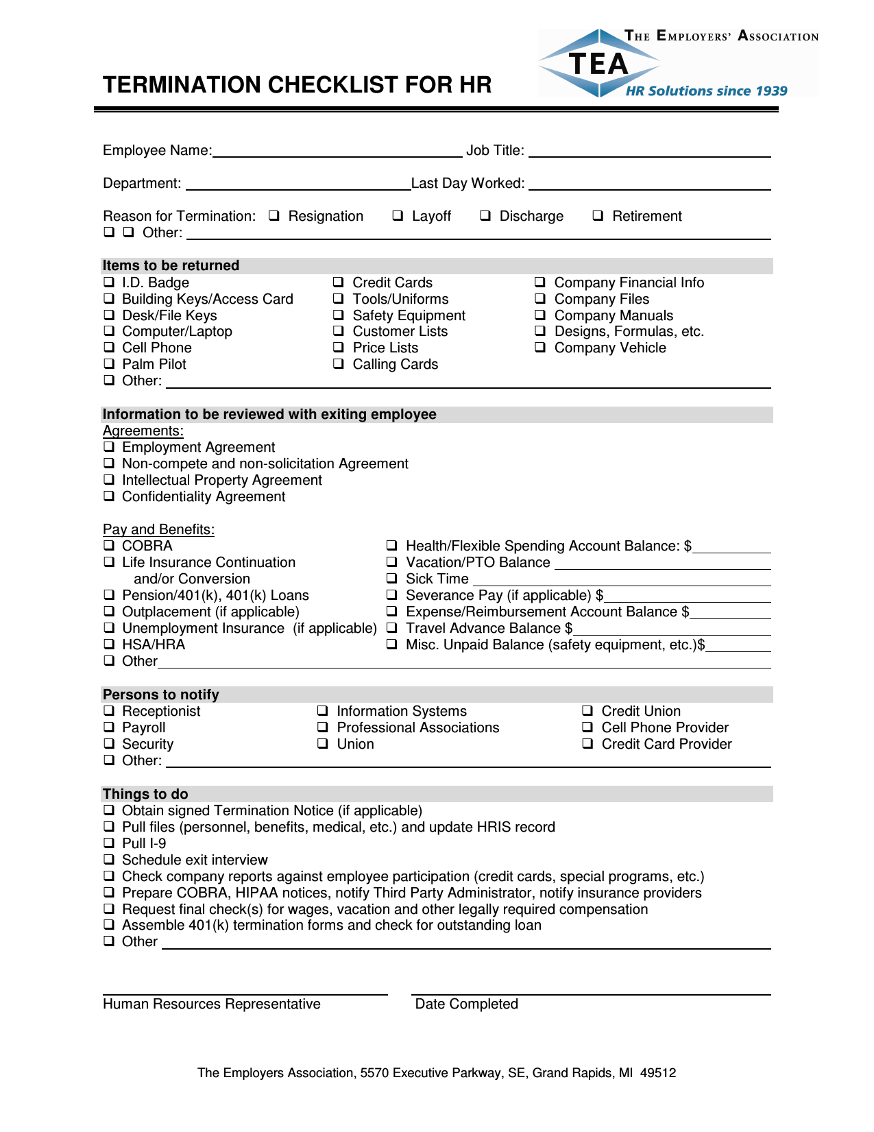 Download Termination Checklist Template | Excel | PDF | RTF | Word ...