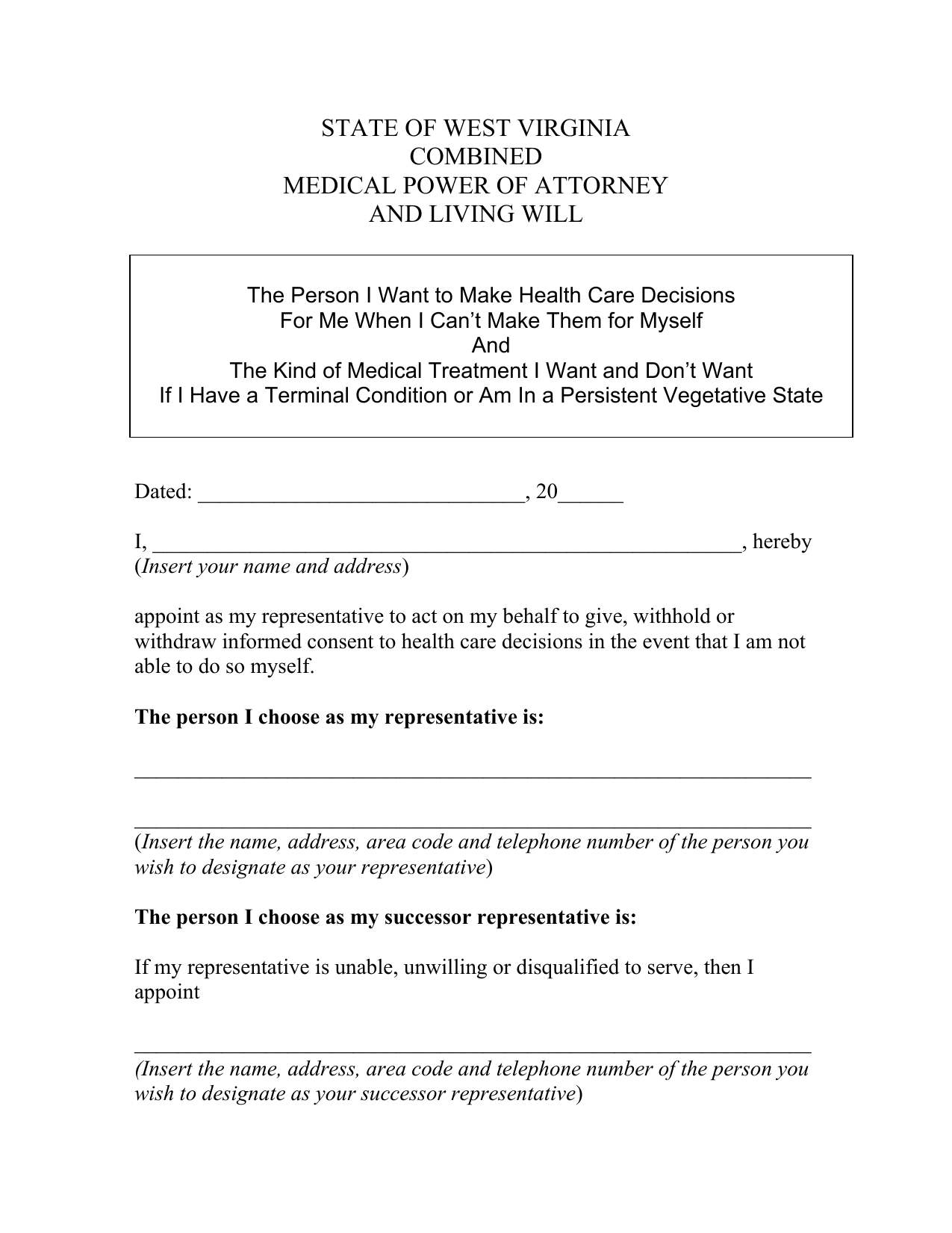 Download west virginia living will form advance directive pdf west virginia living will form advance directive falaconquin