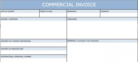 Blank International Commercial Invoice Templates  Commercial Invoice Blank