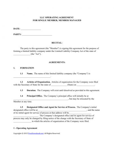 download single member llc operating agreement template