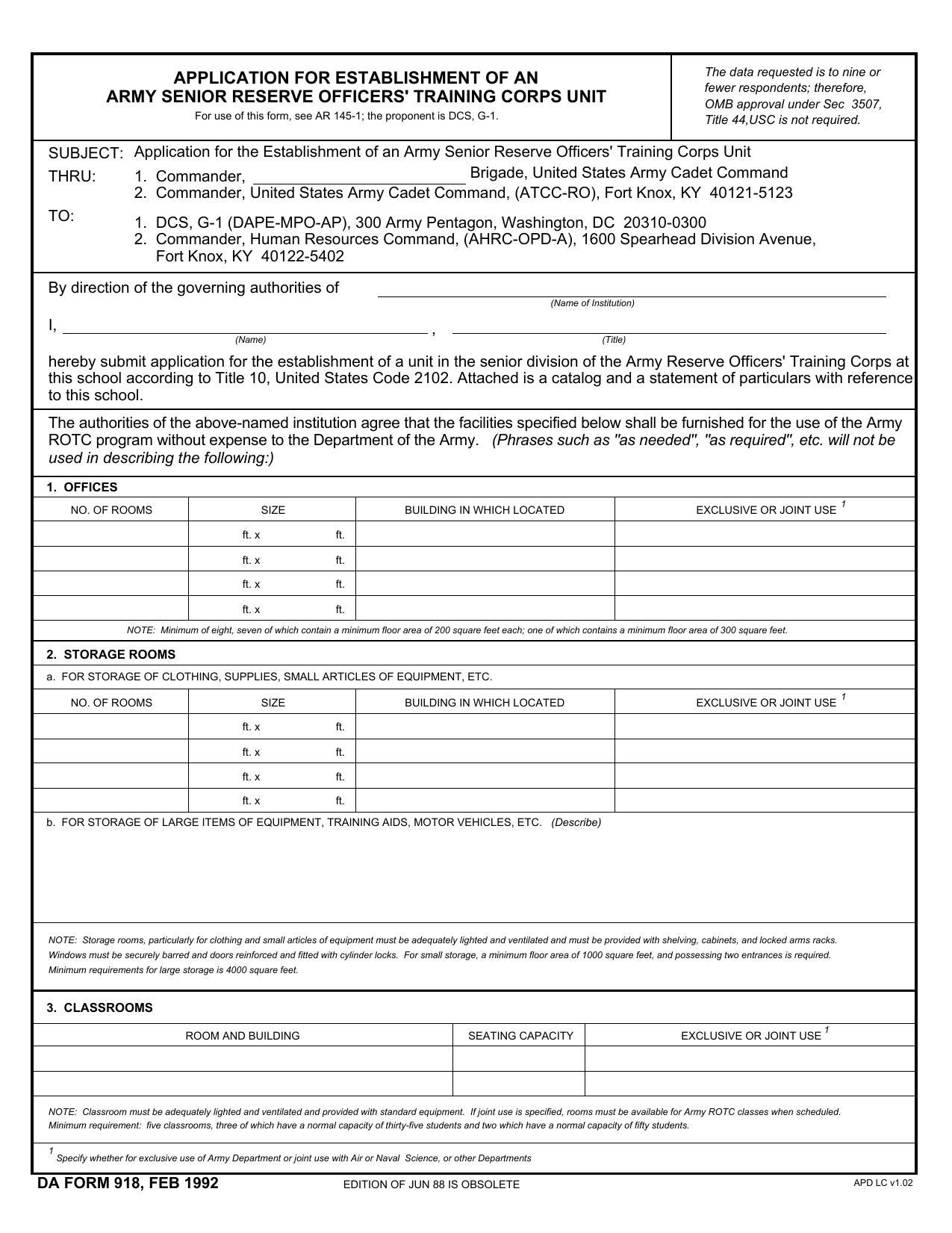 Army Form | Download Da Form 918 Application For Establishment Of An Army