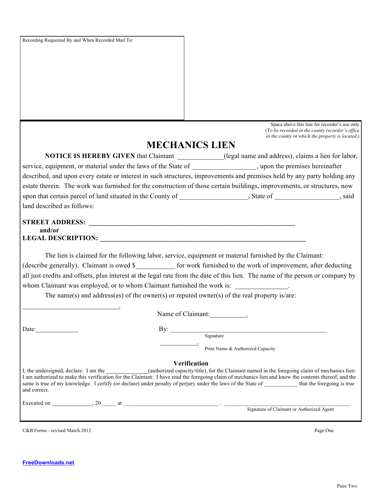 photo about Printable Lien Form identify Obtain Blank Mechanics Lien Template PDF RTF Term
