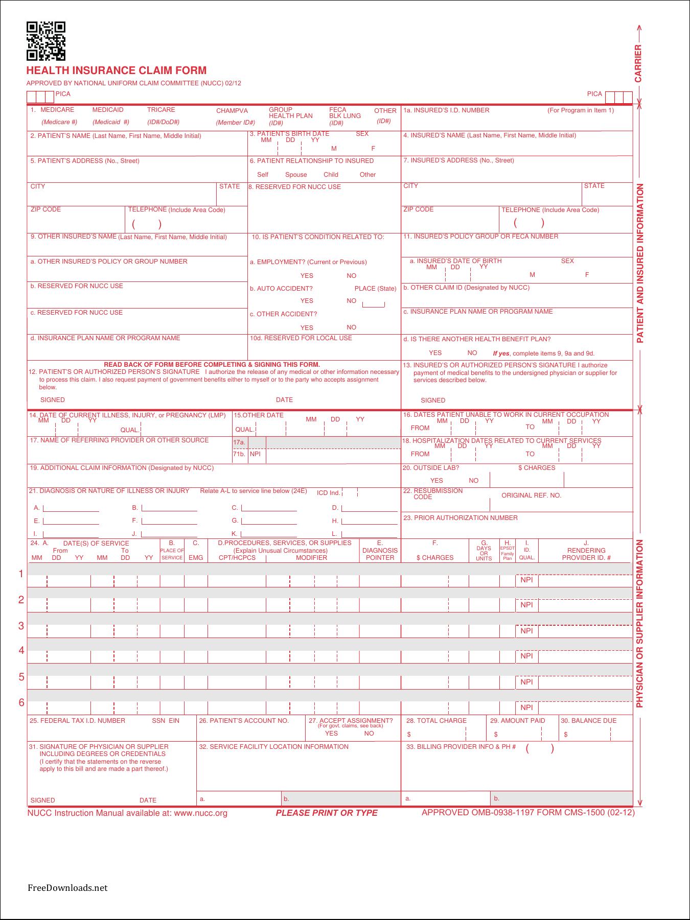 Medicare Claim Form | Download Fillable Cms Claim Form 1500 Pdf Freedownloads Net