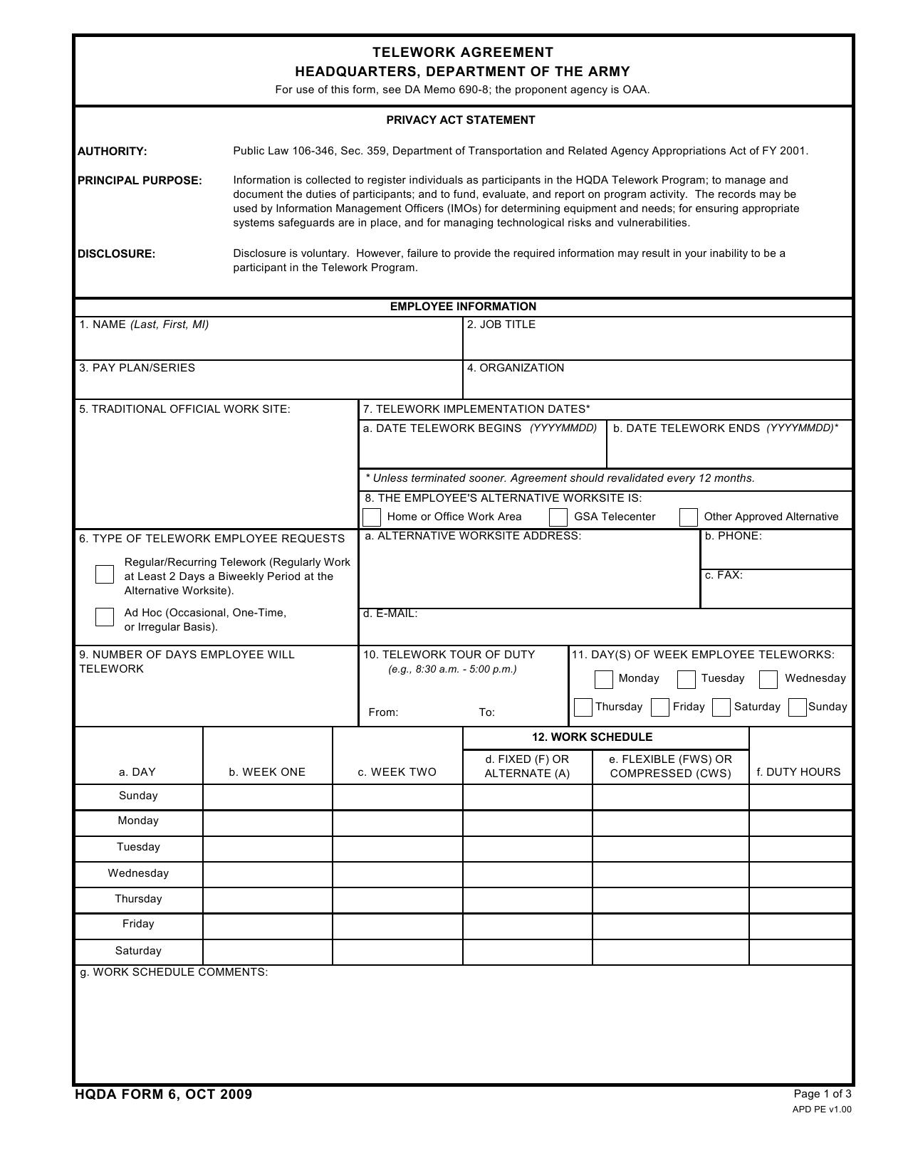Download Da Form Hqda6 Telework Agreement Headquarters Department