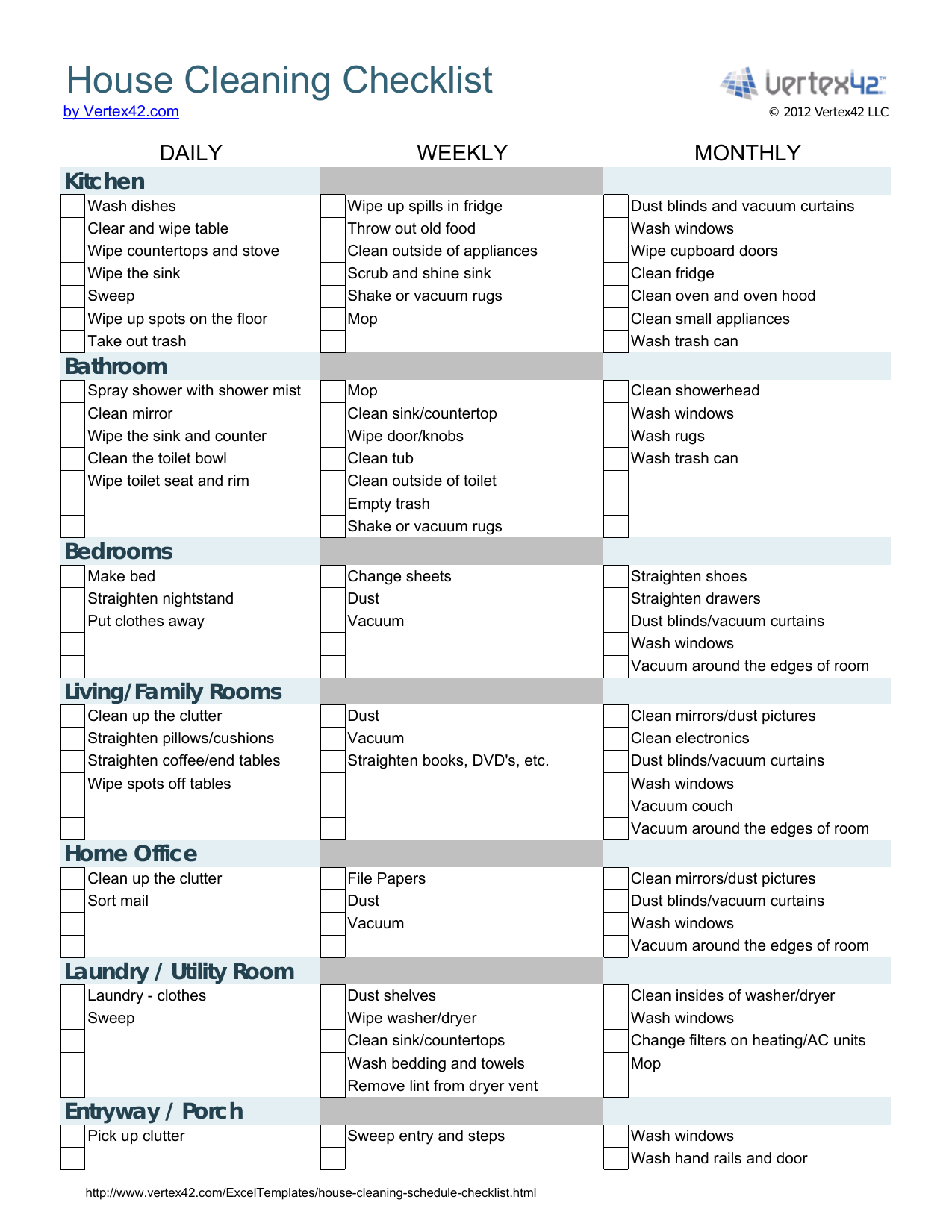 Download House Cleaning Checklist Template Excel Pdf