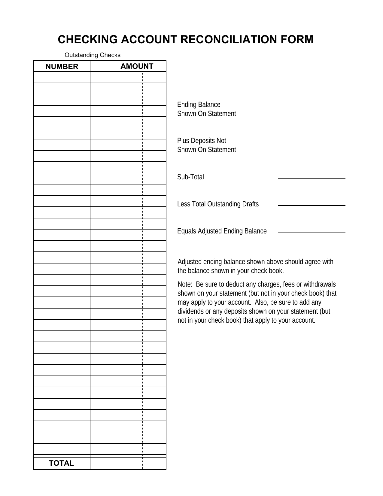 Reconciliation Balance Sheet Template