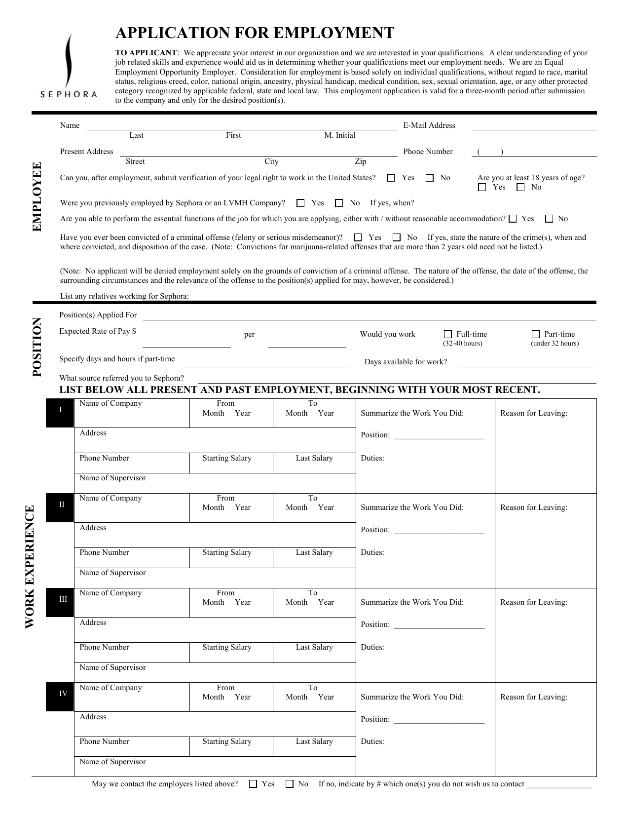 Download Sephora Job Application Form Careers Pdf