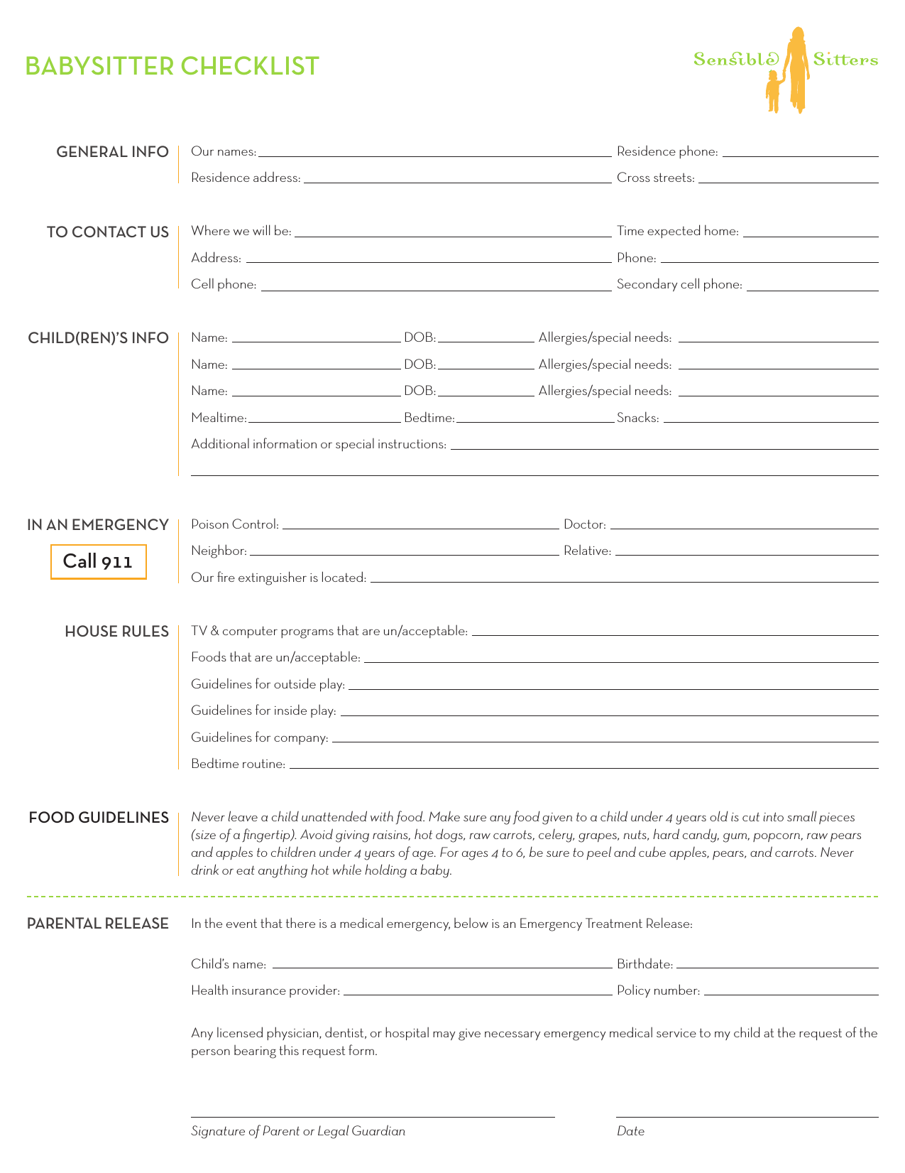 Download Babysitter Checklist Template
