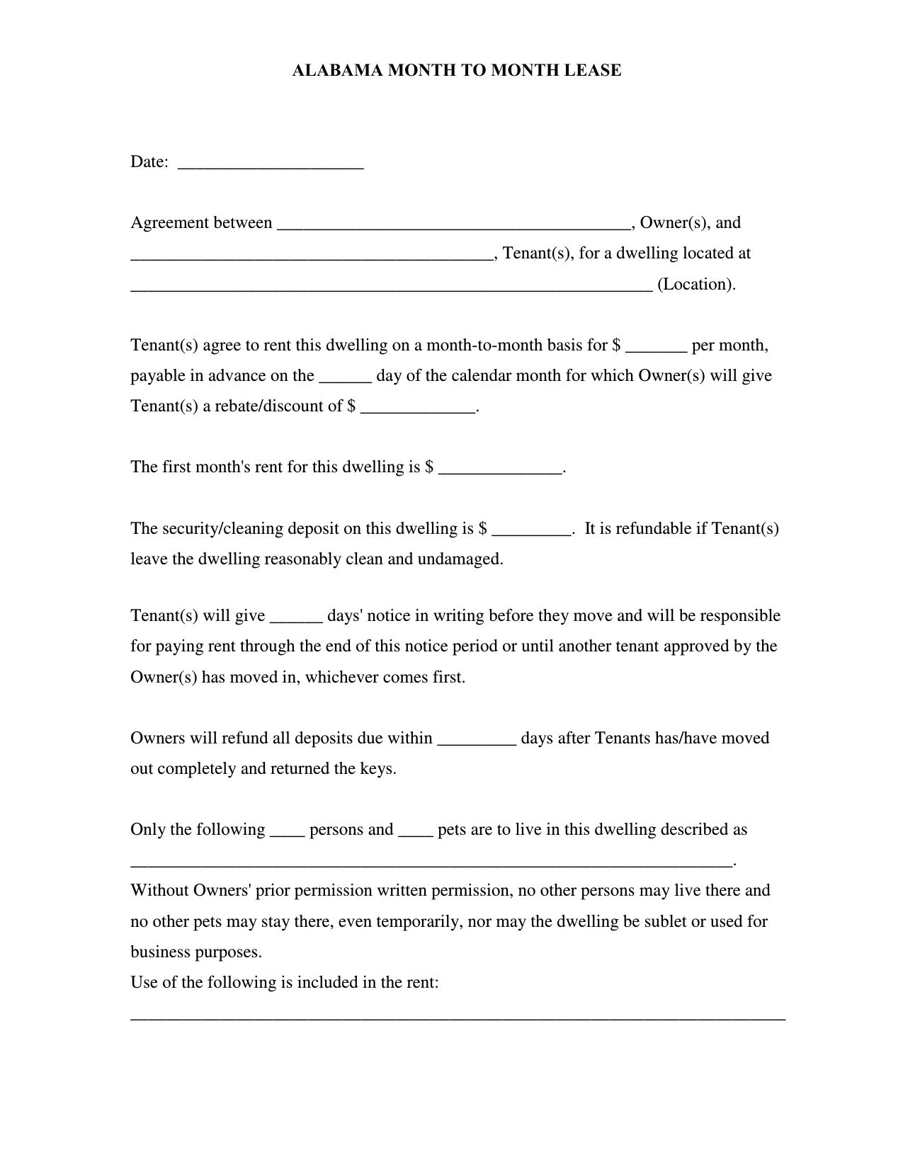 Download Alabama Month To Month Rental Agreement Pdf Rtf