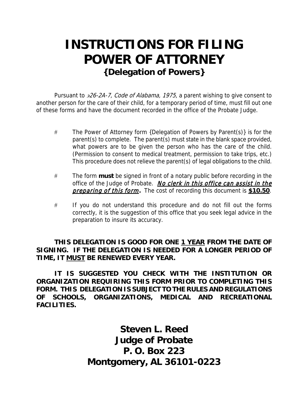 Download Alabama Power Of Attorney For A Minor Child Pdf