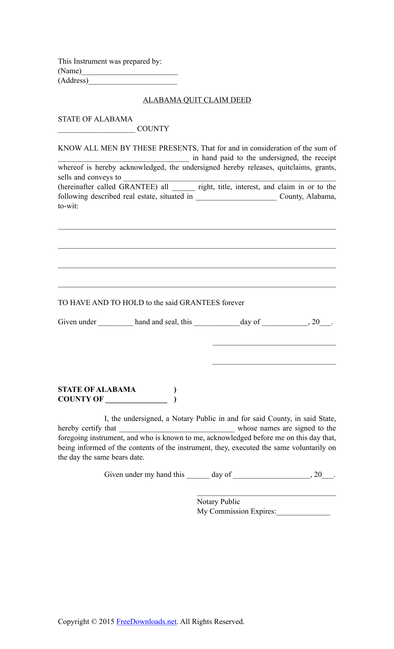 image about Printable Quit Claim Deed called Obtain Alabama Quitclaim Deed Type PDF RTF Term