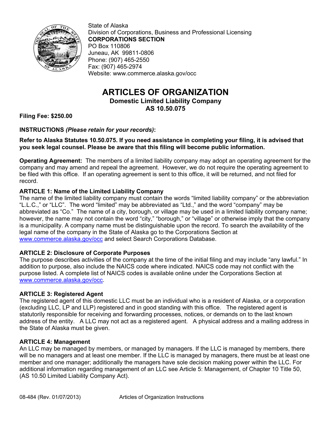 alaska-domestic-llc-articles-of-organization-form-08-484.pdf Online Loan Application Form on template free, print out eminent finance, african bank, sample small, uniform residential, sample home, blank business,