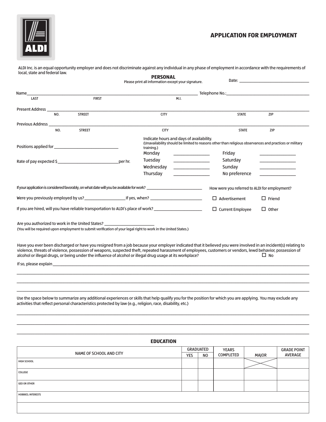 Download Aldi Job Application Form Careers Pdf Freedownloads Net