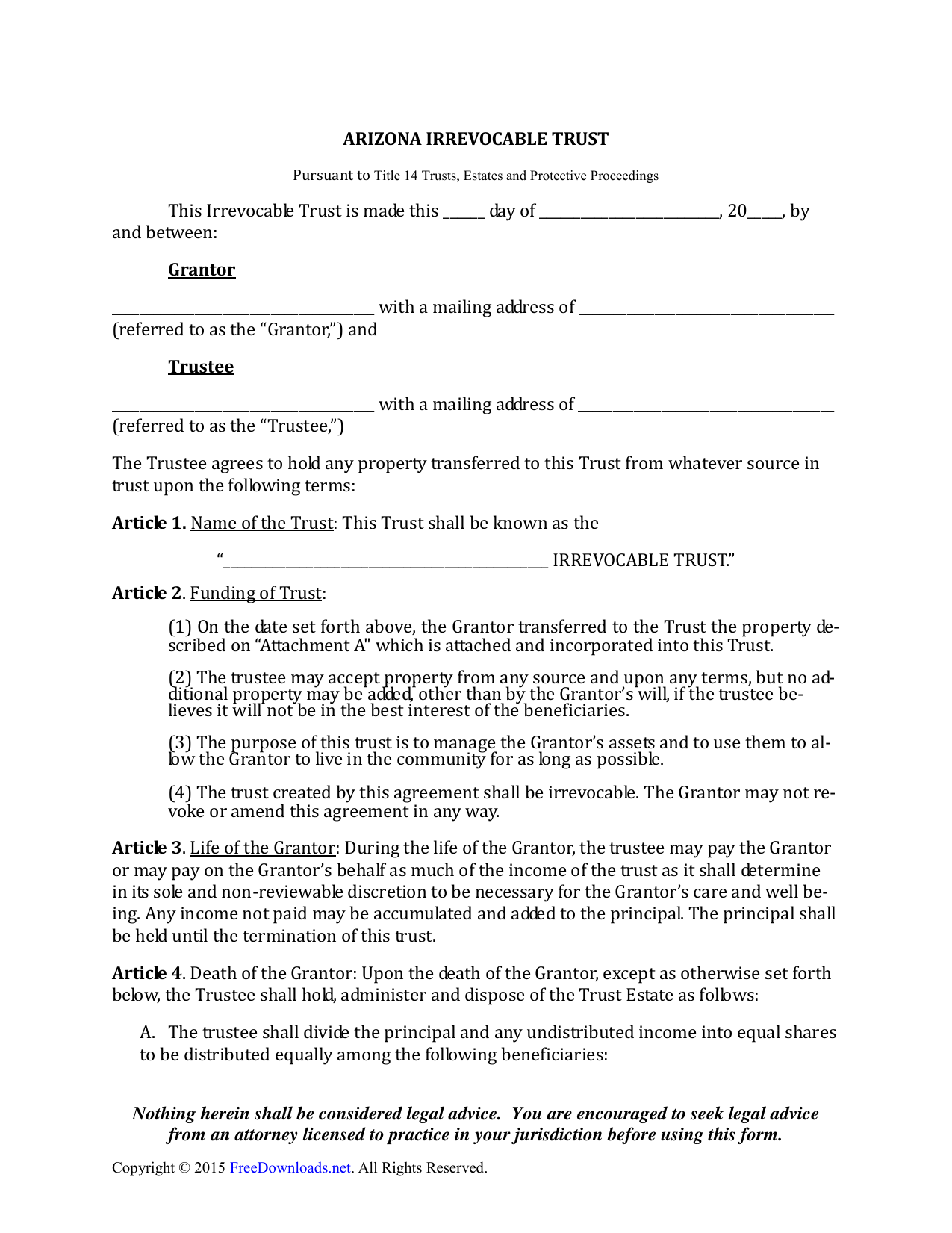 Living Will Form >> Download Arizona Irrevocable Living Trust Form Pdf Rtf Word