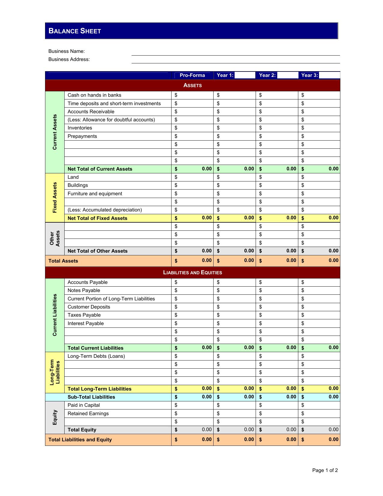 Download Pro Forma Balance Sheet Template Excel Pdf Rtf Word Freedownloads Net