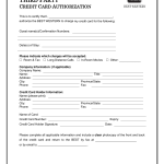 best western credit card authorization form template