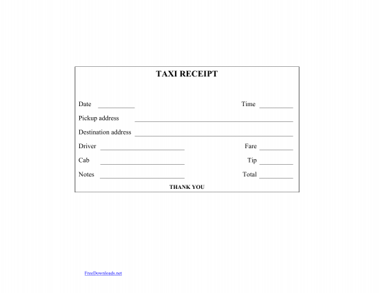 Download Blank Printable Taxi/Cab Receipt Template | Excel | PDF | RTF | Word | FreeDownloads.net