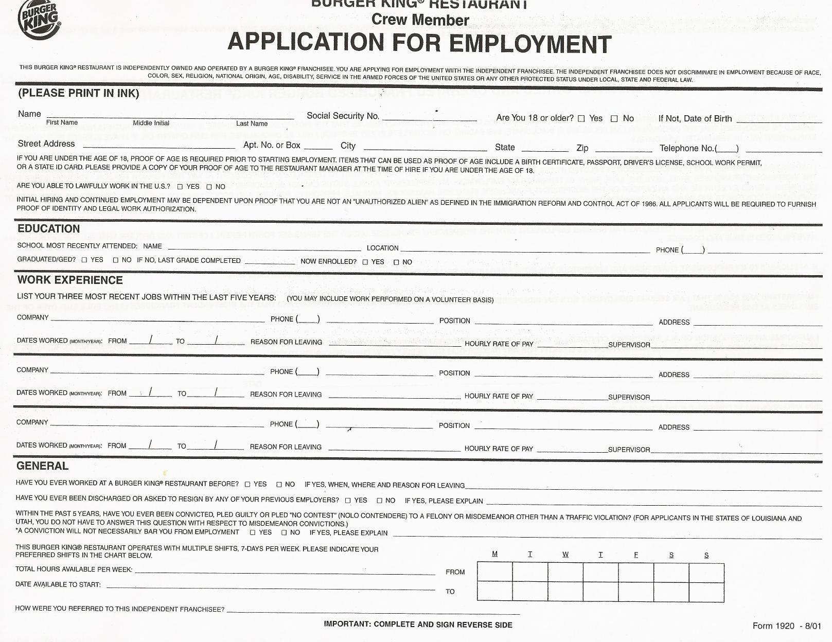 download burger king job application form  u2013 careers