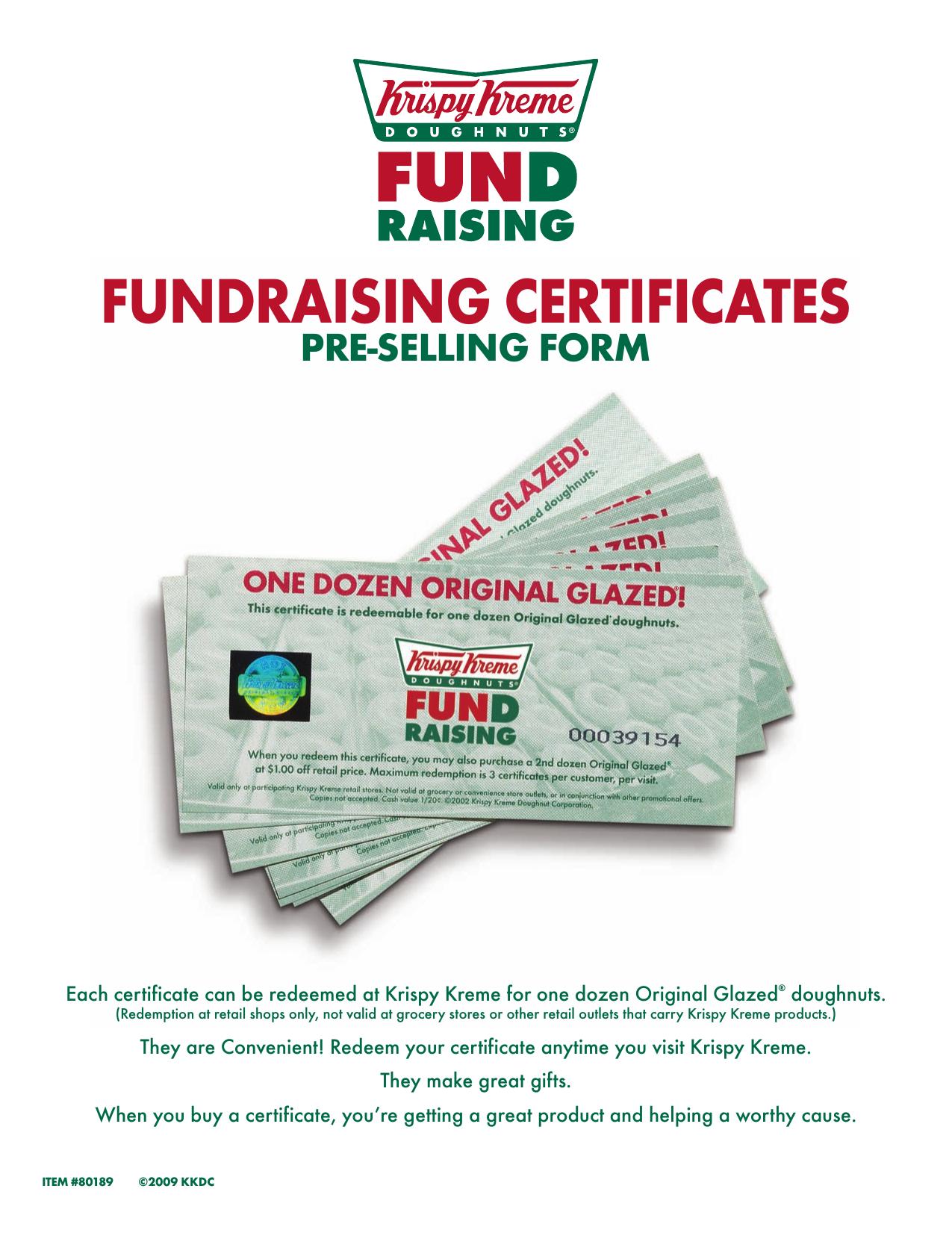 Krispy Kreme Fundraiser Pre Order Form