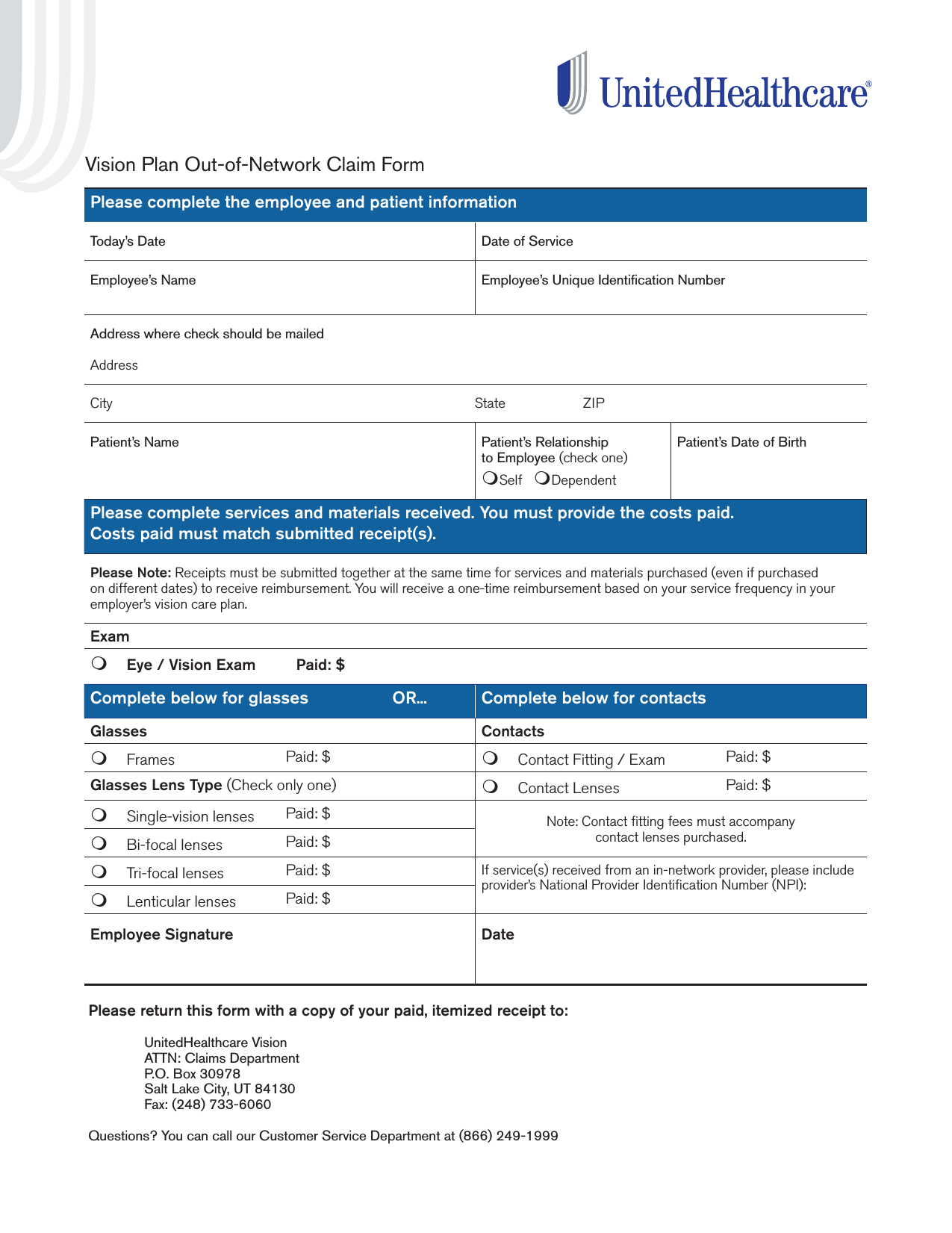 Download United Healthcare Vision Claim Form Pdf