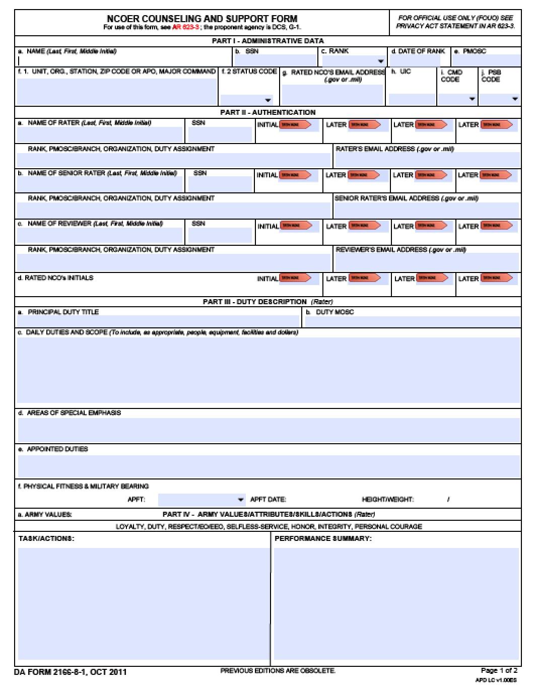 Da form 2166-9-1a ncoer support form.