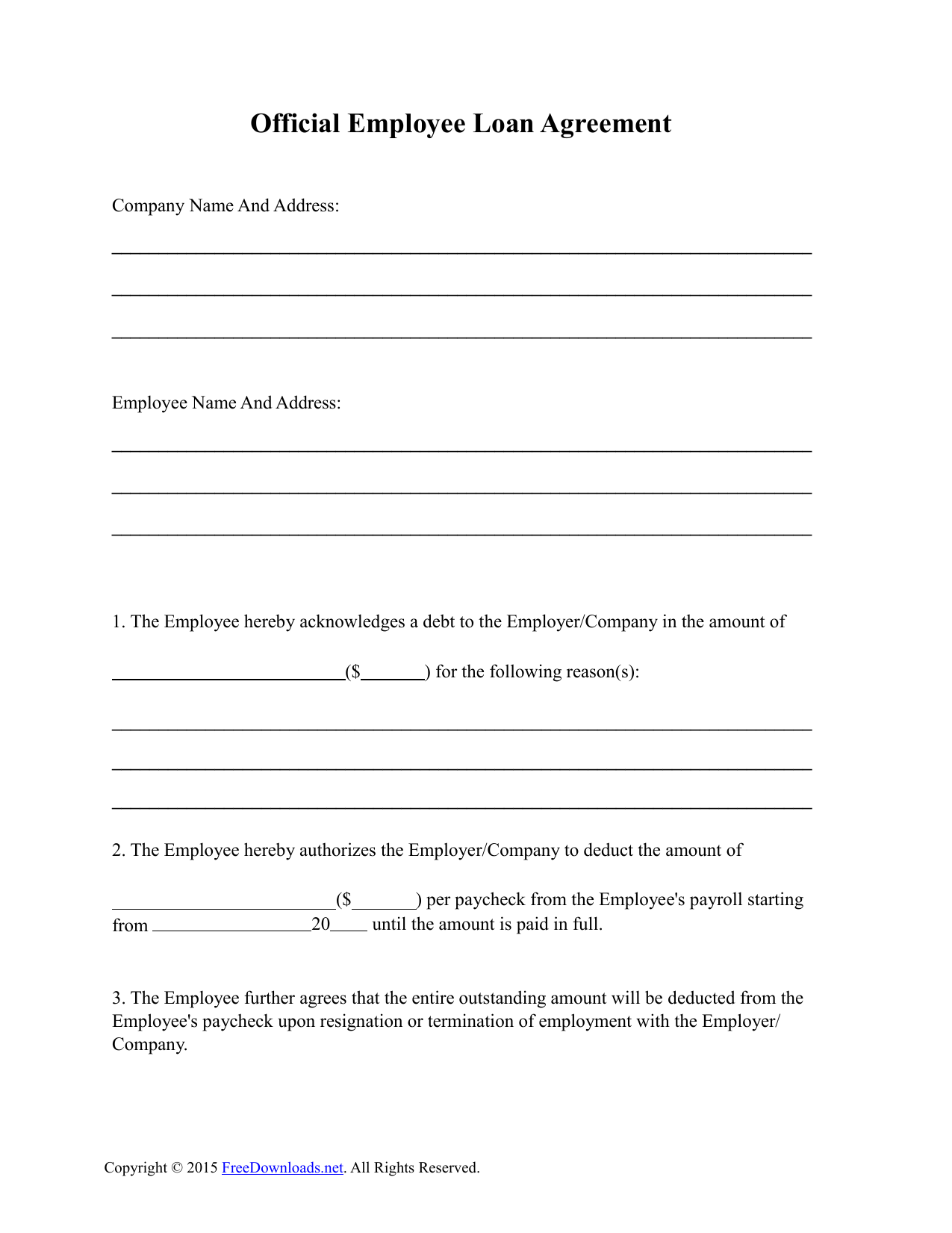 employee loan agreement template