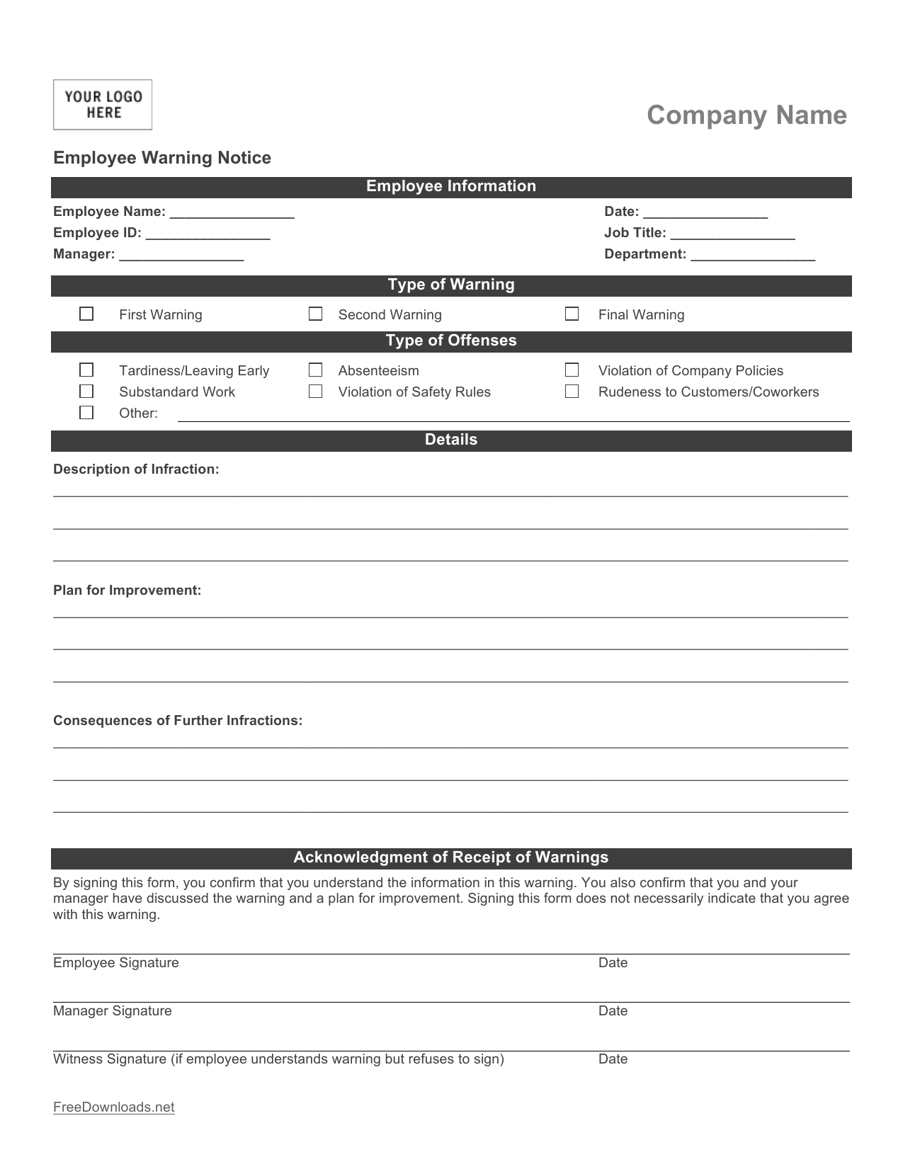 Download Employee Write Up Form Pdf Rtf Word