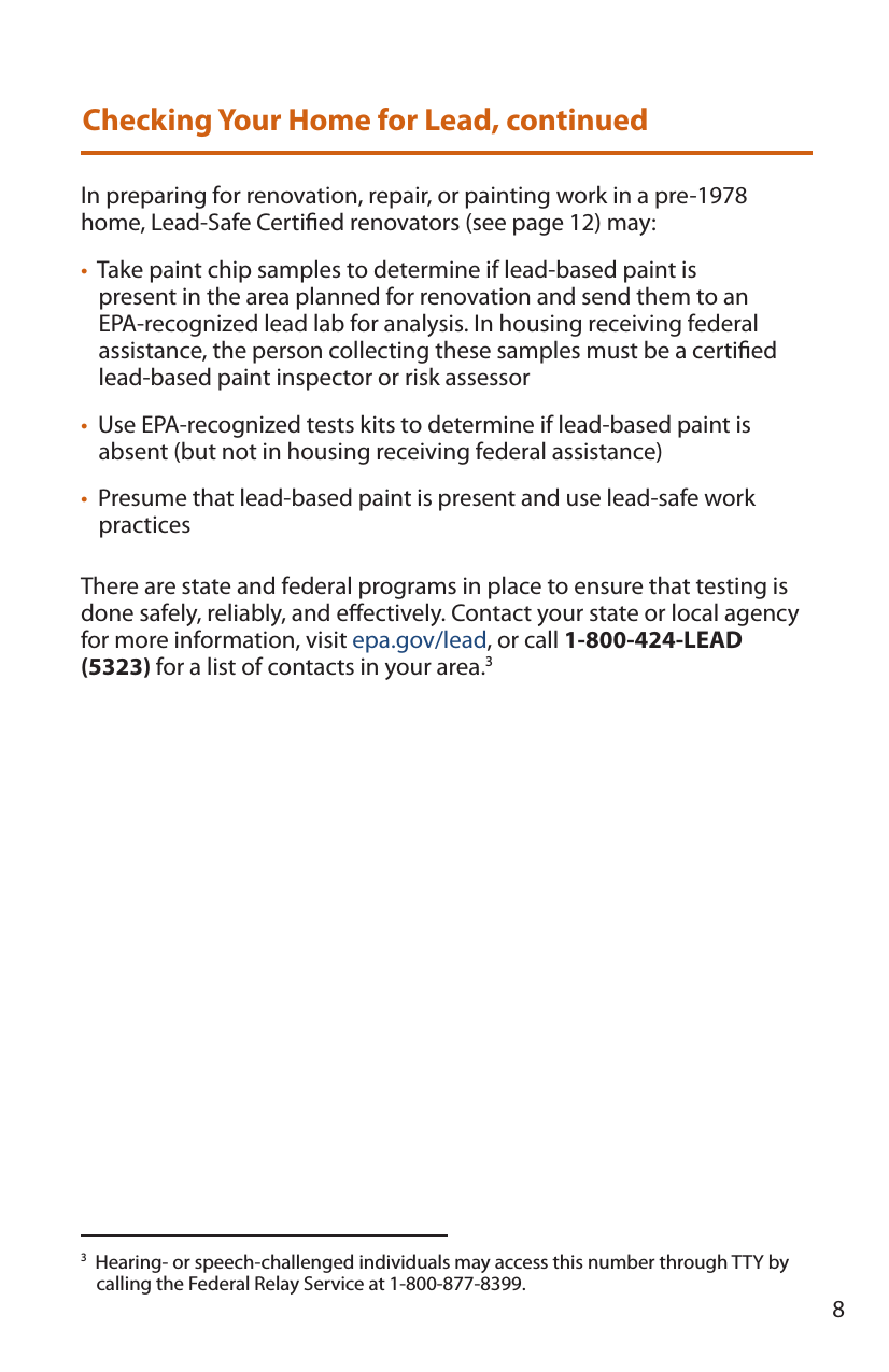 download epa pamphlet to protect your home from lead based