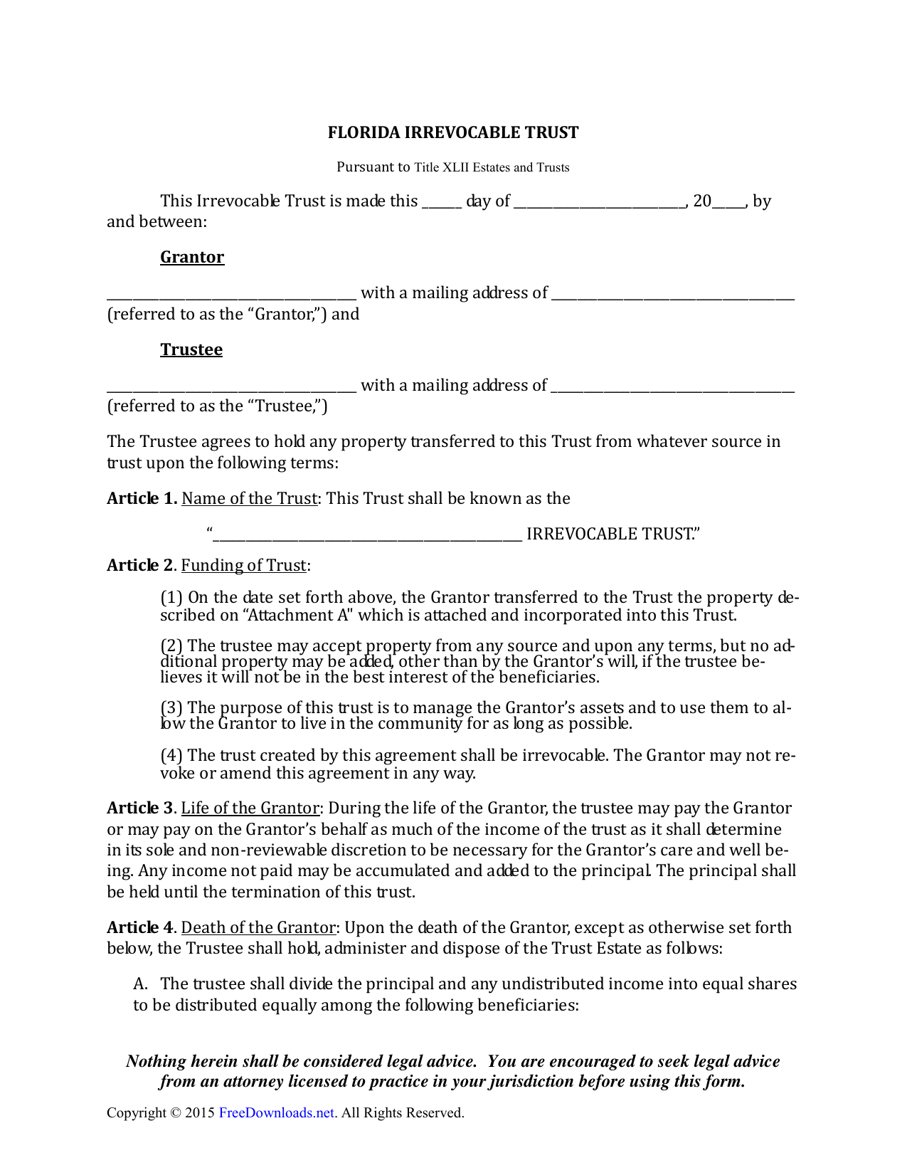 Download Florida Irrevocable Living Trust Form Pdf Rtf